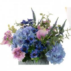 Centerpiece Arrangement | Blue and Pink Garden Flowers in Luxury Blue Vase - HYD010 FR