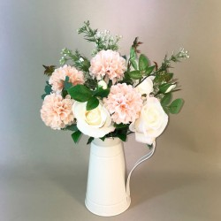 Artificial Flower Arrangements Roses and Mums in Cream Jug 45cm - ROS002 7A