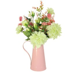 Artificial Flower Arrangements Green Dahlias in Pink Jug 53cm - DAH001 7D