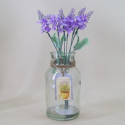 Artificial Flower Arrangement Lavender in Bottle Vase - LAV001 1C