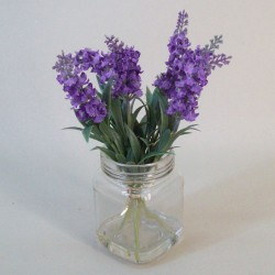 Artificial Flower Arrangement | Purple Lavender in Mason Jar - LAV011 3B & OFF