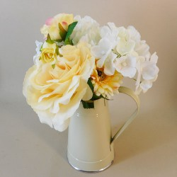 Artificial Flower Arrangements Lemon Flowers in Cream  Jug - ROS009 5D