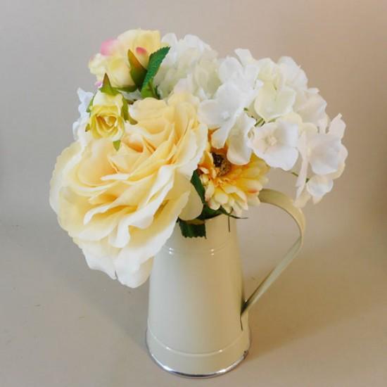 Artificial Flower Arrangements Lemon Flowers in Cream  Jug - ROS009 5D