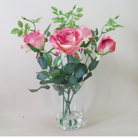 Mid Pink Roses Urn Artificial Flower Arrangement - ROS030 3D