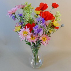 Artificial Flower Arrangement Mixed Garden Flowers in Waisted Vase - RCV006 2C