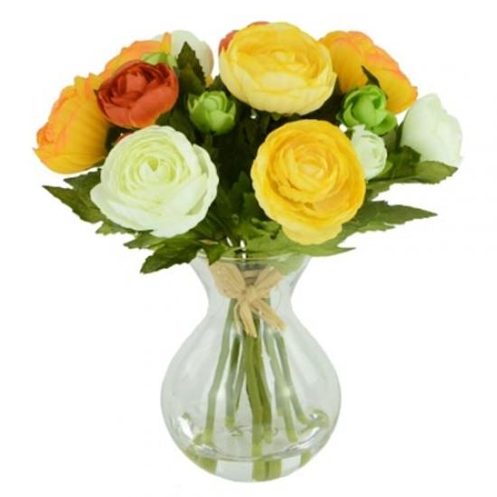 Artificial Flower Arrangements | Orange Yellow Ranunculus - RAV004 5C