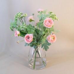 Artificial Flower Arrangement   Peach Ranunculus and Greenery - RAV005 1C