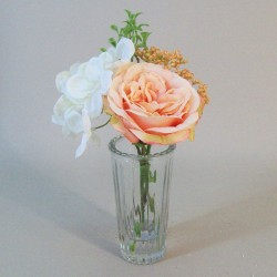 Artificial Flower Arrangement Peach Rose and Cream Hydrangea - RHV012 5C