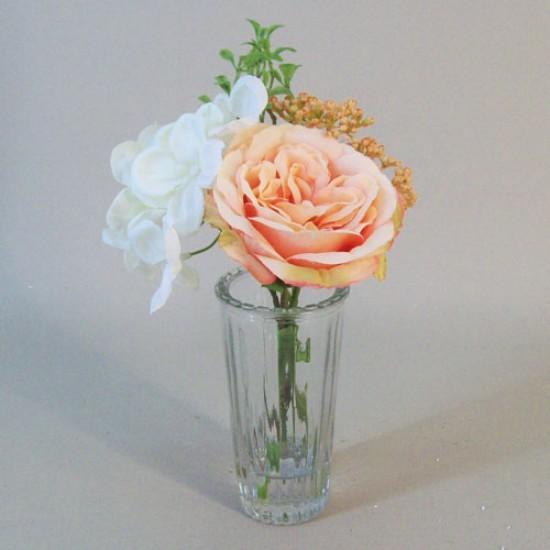 Artificial Flower Arrangement Peach Rose and Cream Hydrangea - RHV012 5C