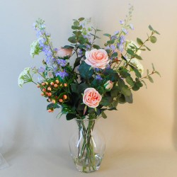 Artificial Flower Arrangement | Peach Roses and Larkspur Vase - ROS070