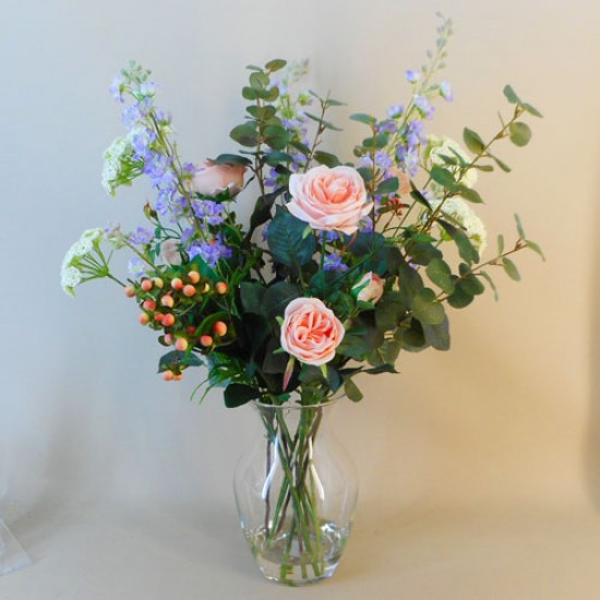 Artificial Flower Arrangement | Peach Roses and Larkspur Vase - ROS070 1A