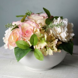 Artificial Flower Arrangement Roses and Peonies in White Bowl - ROS068