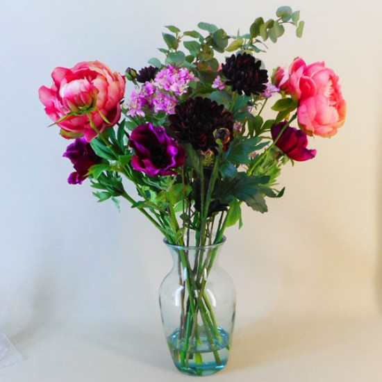 Artificial Flower Arrangement | Peony Chrysanthemum and Anemones Vase - PEO010 1A