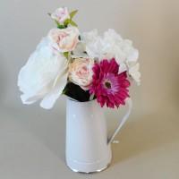 Artificial Flower Arrangements Pink Flowers in White Jug - ROS010