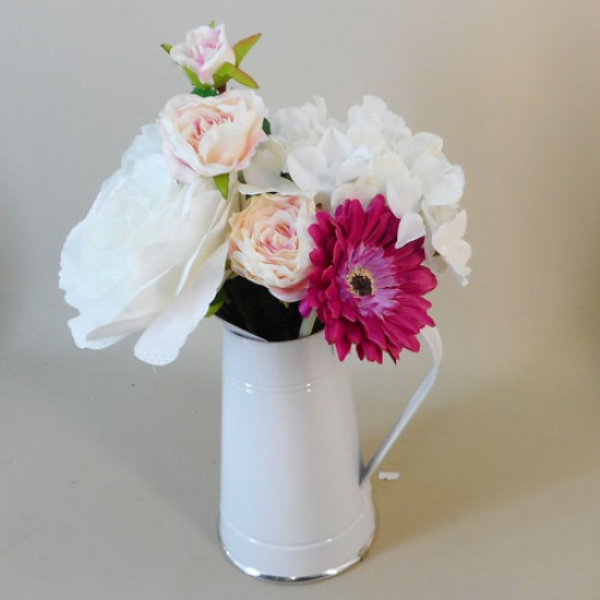 Artificial Flower Arrangements Pink Flowers in White Jug - ROS010 2C