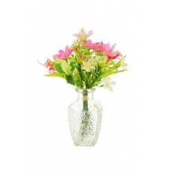 Artificial Flower Arrangement Pink Garden Flowers in Vintage Style Vase - GAR006 3C