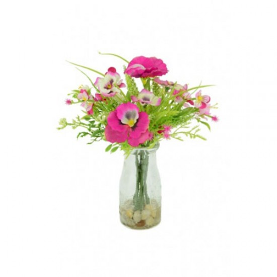 Artificial Pansies and Blossom Milk Bottle Pink - PAN002 1B
