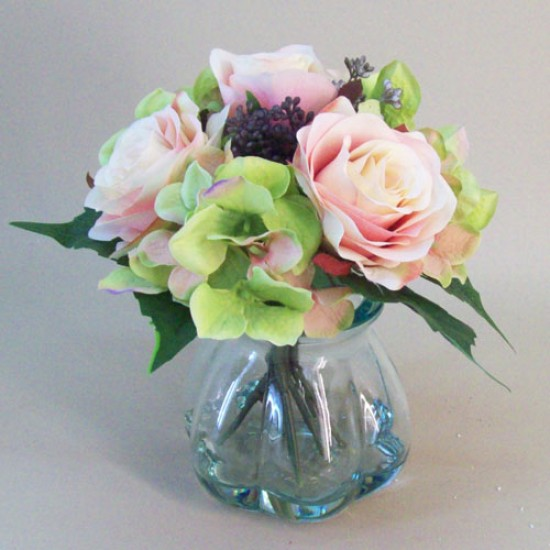 Artificial Flower Arrangement | Pink Roses and Hydrangeas - RHV008 6B