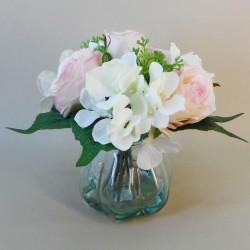 Artificial Flower Arrangement | Roses and Hydrangeas Cream Pink - RHV007