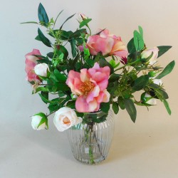 Artificial Flower Arrangement | Pink Roses in Ribbed Vase - ROS021 2A