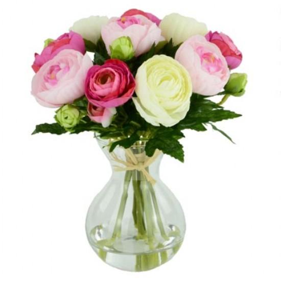 Artificial Flower Arrangement   Pink White Ranunculus - RAV003 1C