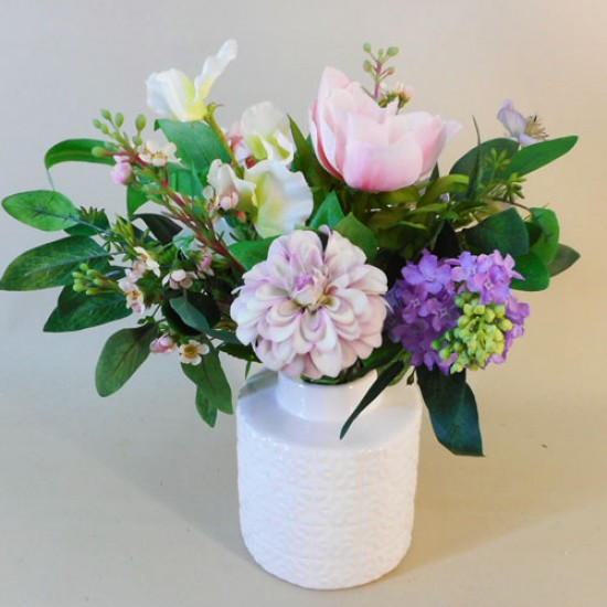 Artificial Flower Arrangements Pink and Purple Garden Flowers - WIL001