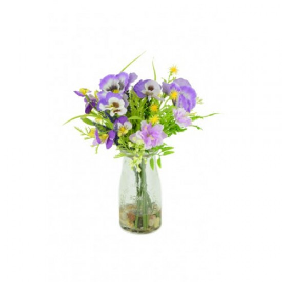 Artificial Pansies and Blossom Milk Bottle Purple - PAN001 3C