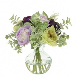 Artificial Flower Arrangement | Purple and Green Ranunculus - RAV006 3C