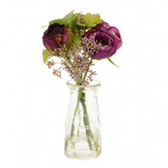 Artificial Flower Arrangement | Plum Ranunculus and Hydrangeas - RHV016 5C