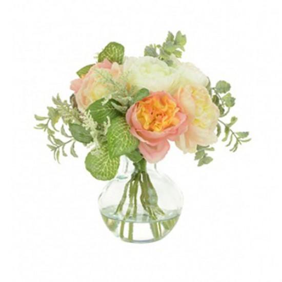 Artificial Flower Arrangement | Pink and Peach Ranunculus - RAV007 5B