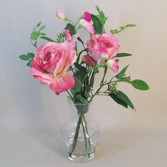 Mid Pink Roses Carafe Artificial Flower Arrangement - RSV004 1B