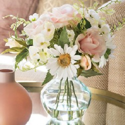 Artificial Flower Arrangement | Pink Roses Hydrangeas and Daisies - RHV018 6D