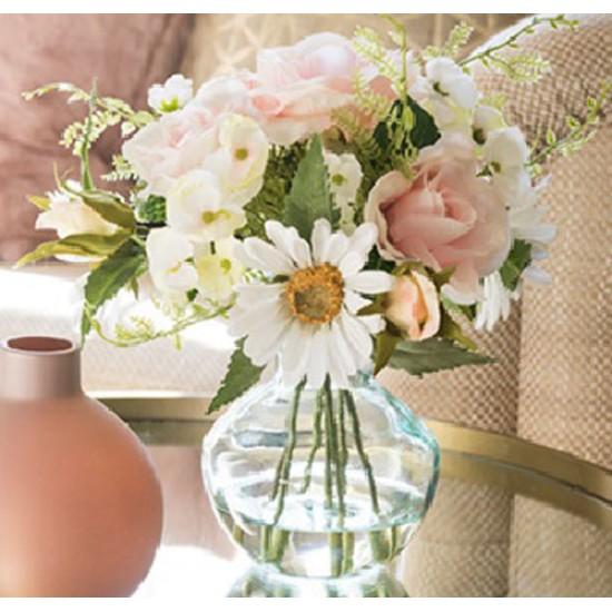 Artificial Flower Arrangement | Pink Roses Hydrangeas and Daisies - RHV018 6D