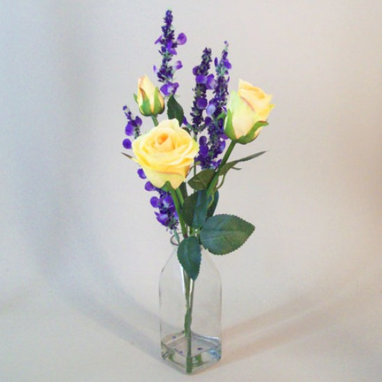 Artificial Flower Arrangements | Yellow Roses and Lavender Veronica - ROS060 2C