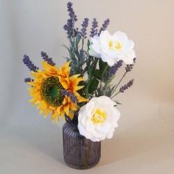 Artificial Flower Arrangements | Sunflower and Diana Roses - SUN007 1C