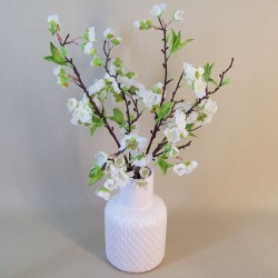 Artificial Flower Arrangement | White Blossom in White Vase - BLV001 2C