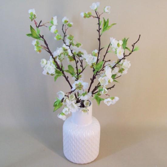 Artificial Flower Arrangement | White Blossom in White Vase - BLV001 7A