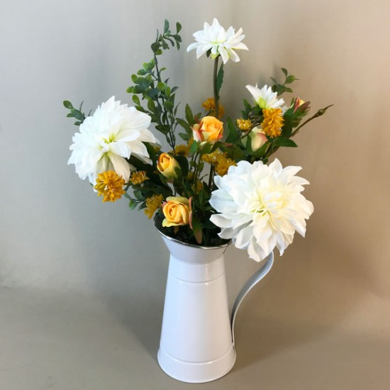 Artificial Flower Arrangements Dahlias and Yellow Roses in White Jug 53cm - DAH002 5A