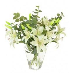 Artificial Flower Arrangements White Lilies and Eucalyptus - LIL027 1C