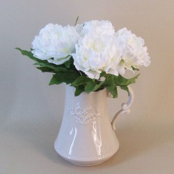Artificial Peonies in Rustic Ceramic Jug Arrangement - PEO006 7A