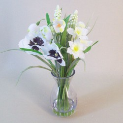 Artificial Flower Arrangement White Spring Flowers - SPR005 3D