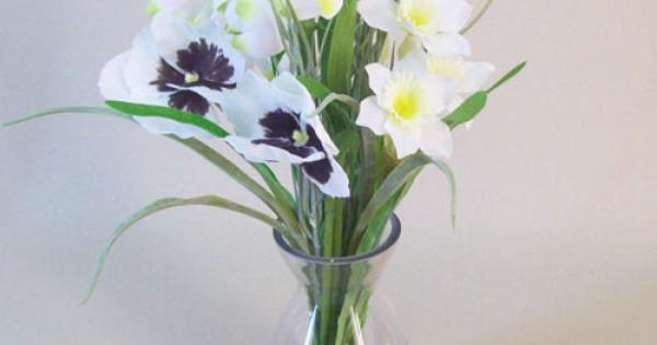 Artificial Flower Arrangement White Spring Flowers Silk Flower Arrangement