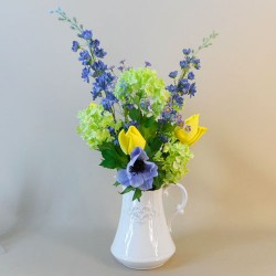 Artificial Flower Arrangements | Yellow Tulips and Daisies Jug - TUL001 1A