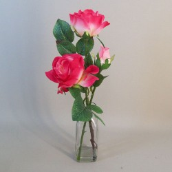 Artificial Flower Arrangements | Pink Roses in Bottle Vase - ROS049 1C