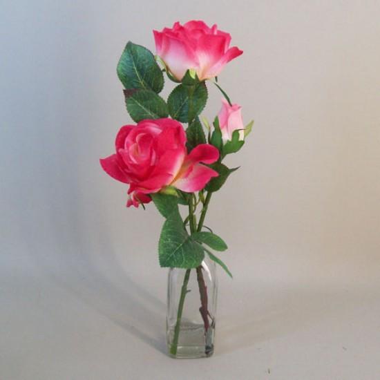 Artificial Flower Arrangements | Pink Roses in Bottle Vase - ROS049 1C