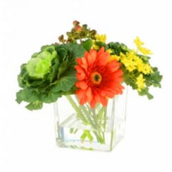 Artificial Flower Arrangements | Orange Gerberas and Cabbages - GER005 3D