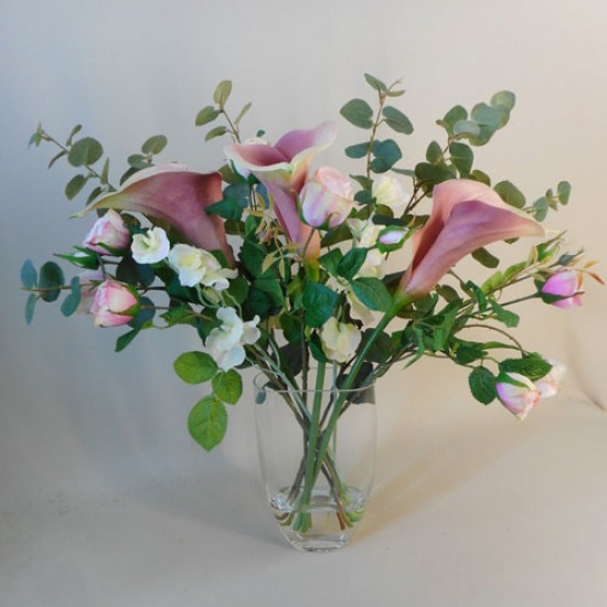 Artificial Flower Arrangements Calla Lilies and Roses  - CLV015 7B