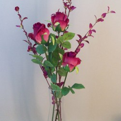 Artificial Flower Arrangements   Cherry Pink Roses in Carafe Vase - ROS050 3A