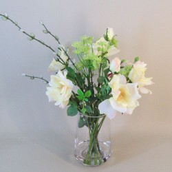 Artificial Flower Arrangements | Cream Roses and Dill Flowers - ROS042 2C