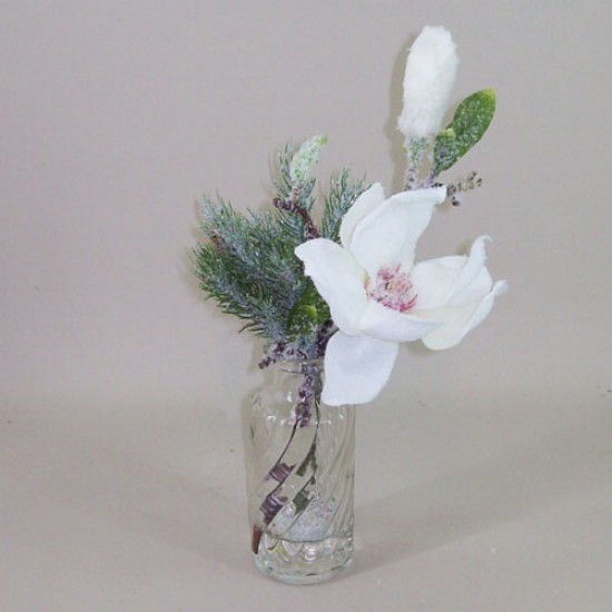 Artificial Flower Arrangements | Frosted Magnolia and Spruce Bottle - MAG002 FR 2A